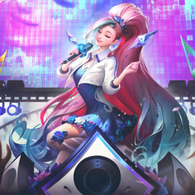 KDA ALL OUT Seraphine Rising Star Cosplay Costume Product Etails (1)